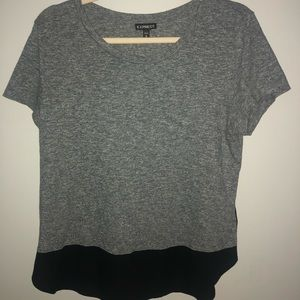 Express grey color block blouse